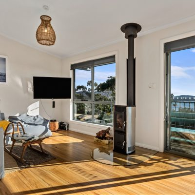 Wood heater in living room