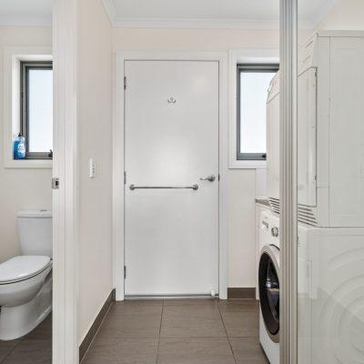 Laundry, shower, powder room